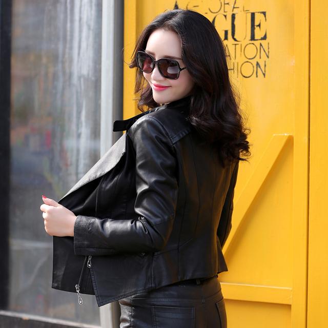 2016 spring women leather jacket clothing short design plus size slim turn-down collar motorcycle leather coat female jacket