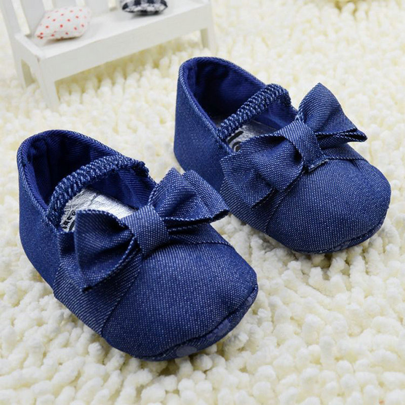 0-18M Toddler Solid Bowknot Crib Shoes Baby Shoes Girl Soft Sole Demin Prewalker