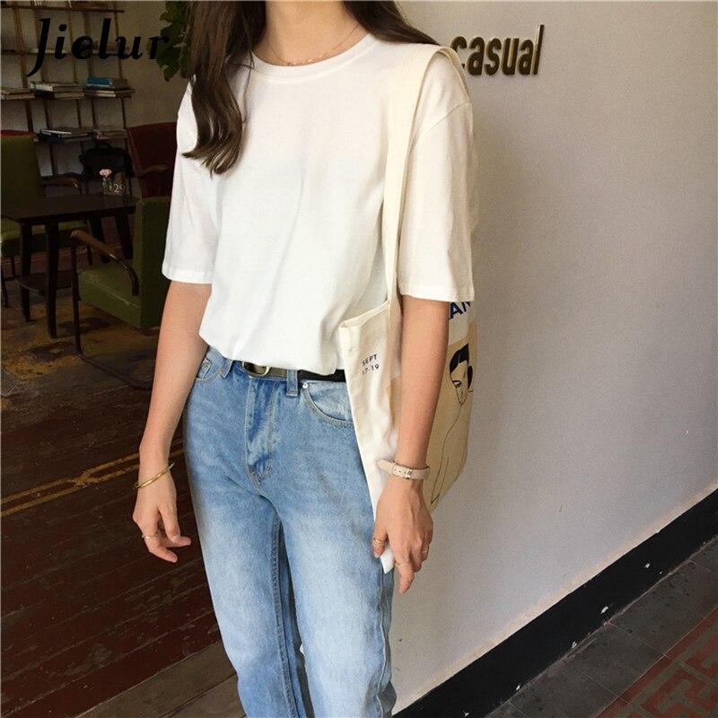 Jielur Tee Shirt 15 jednolity kolor podstawowe T koszula kobiety na co dzień O-neck Harajuku lato Top koreański Hipster biały t-shirt S-XL Dropship 3