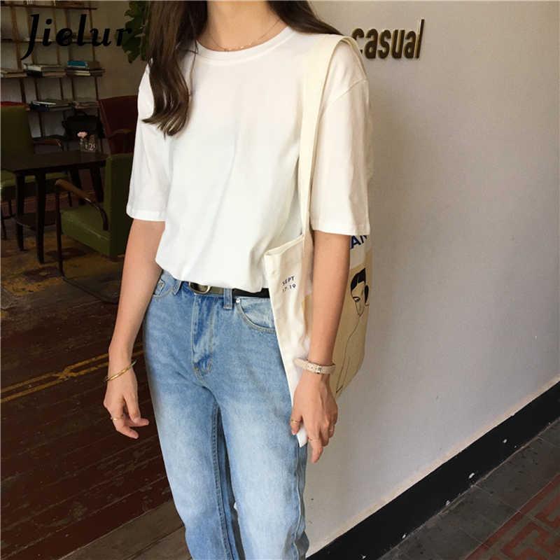 Jielur футболка 15 однотонная Базовая футболка женская повседневная с круглым вырезом Harajuku летний топ корейский хипстер белая футболка S-XL Прямая поставка
