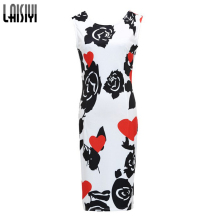 2017 New Summer Women Dresses Elegant Slim Dress Package Hip Pencil Vestidos Floral Printed midi Dress Sexy Bodycon Robe DR2159