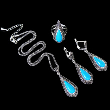 HENSEN Turkish Antique Jewelry Blue Resin Water Drop And Retro Black Rhinestone Vintage Silver Plated Jewellery Set Women Gift