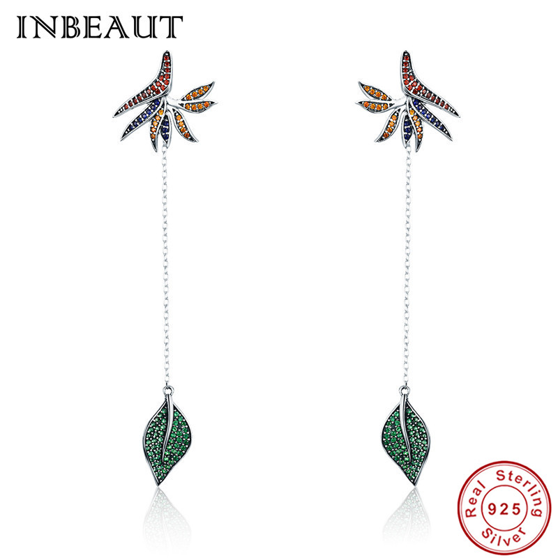 INBEAUT Women Fashion Wedding Earrings 100% Real 925 Sterling Silver Brown Zircon Green Tree Leaf Long Drop Earrings for Bride er 5302 women s fashionable leaf style zinc alloy earrings green pair
