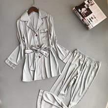 Damen Silk Satin Pyjamas Pyjamas Set Langarm Nachtwäsche Pijama Feminino Pyjamas Anzug Weibliche Schlaf Zwei Stück Set Loungewear