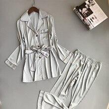 נשים משי סאטן פיג סט ארוך שרוול הלבשת פיג מה Feminino פיג מה חליפת שינה נשי שתי חתיכה להגדיר Loungewear