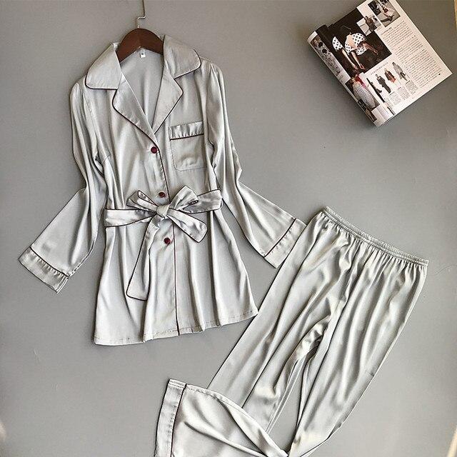 여자 실크 새틴 잠옷 잠옷 세트 긴 소매 잠옷 Pijama Feminino 잠옷 정장 여성 수면 두 조각 세트 Loungewear