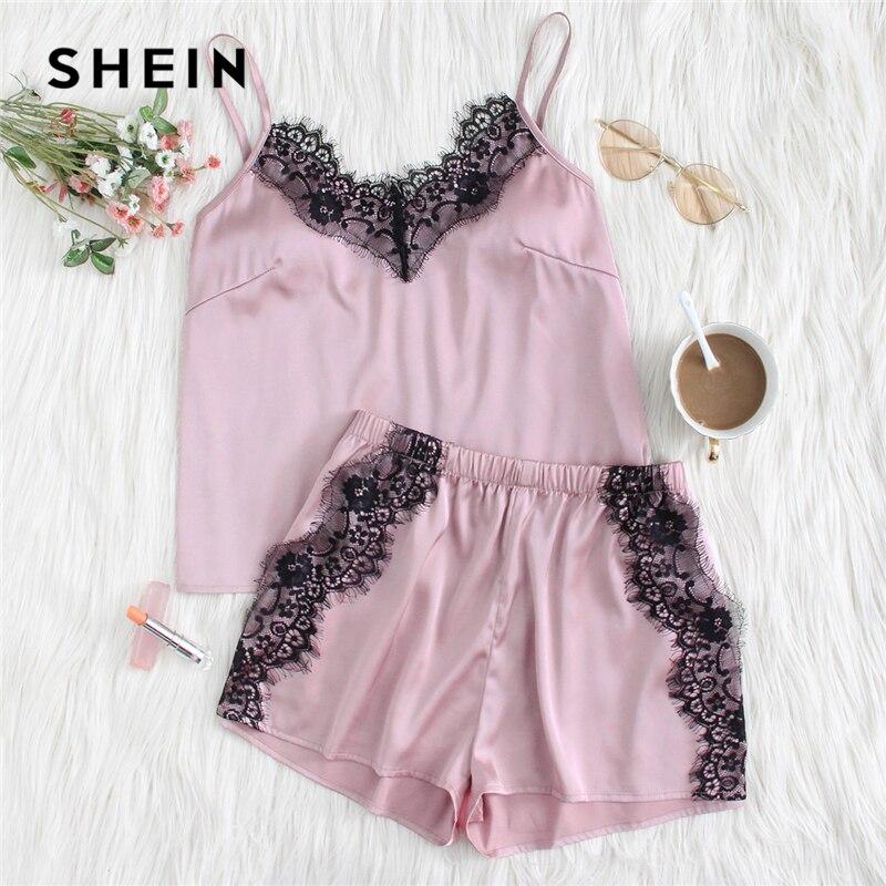 SHEIN Eyelash Lace Applique Cami Top & Shorts PJ Set 2018 Summer Pink Spaghetti Strap Top With Shorts Women Casual Nightwear