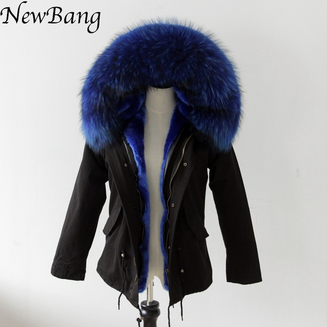 2016 Black Coat With Large Raccoon Fur Collar Hood Womens Parkas Outwear 2 in 1 Detachable Lining Winter Jacket