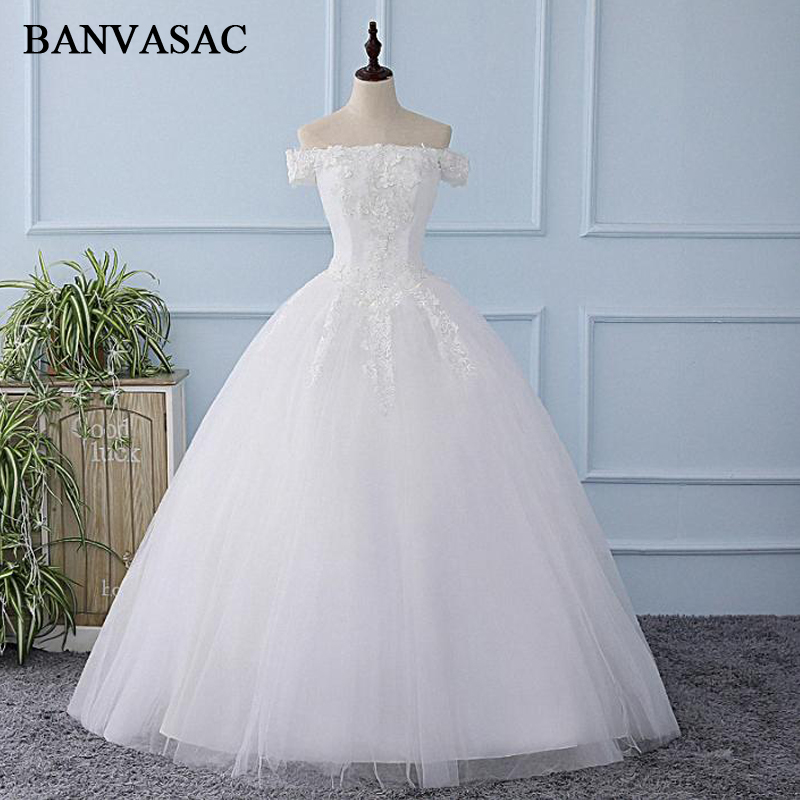 Banvasac 2018 Boat Neck Sequined Ball Gown Wedding Dresses Vintage