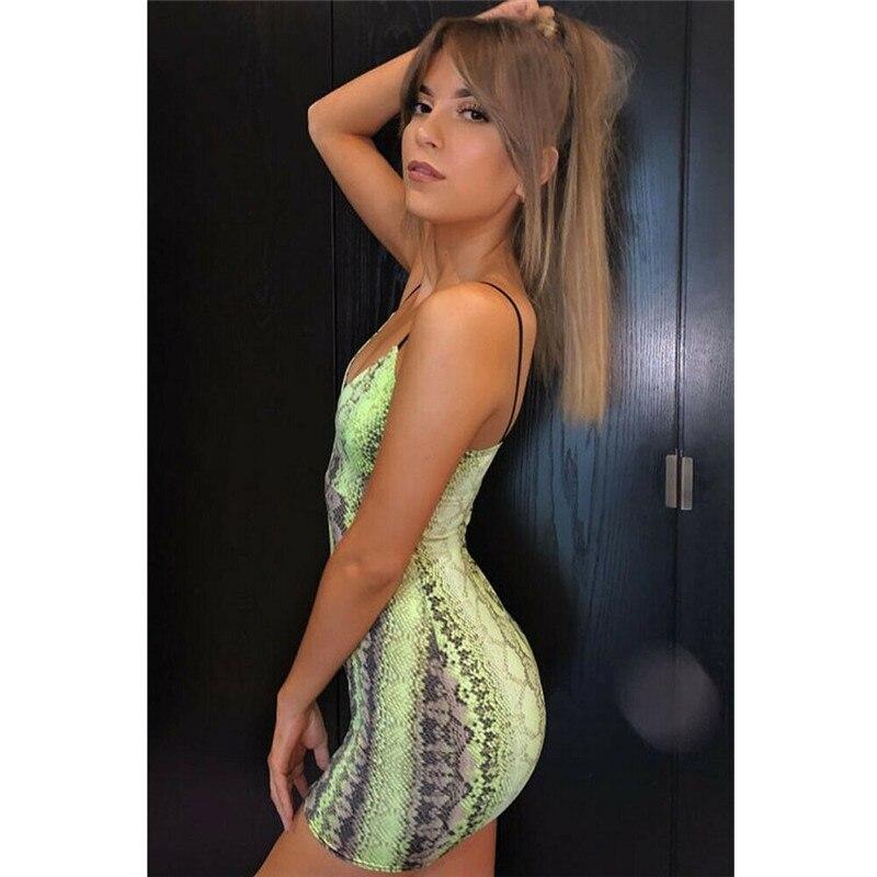 HTB1aK1oPcfpK1RjSZFOq6y6nFXan Sexy Women Sleeveless Dress Bandage Bodycon  Dress Evening Party  Mini Dress Sexy Snake Print Dress