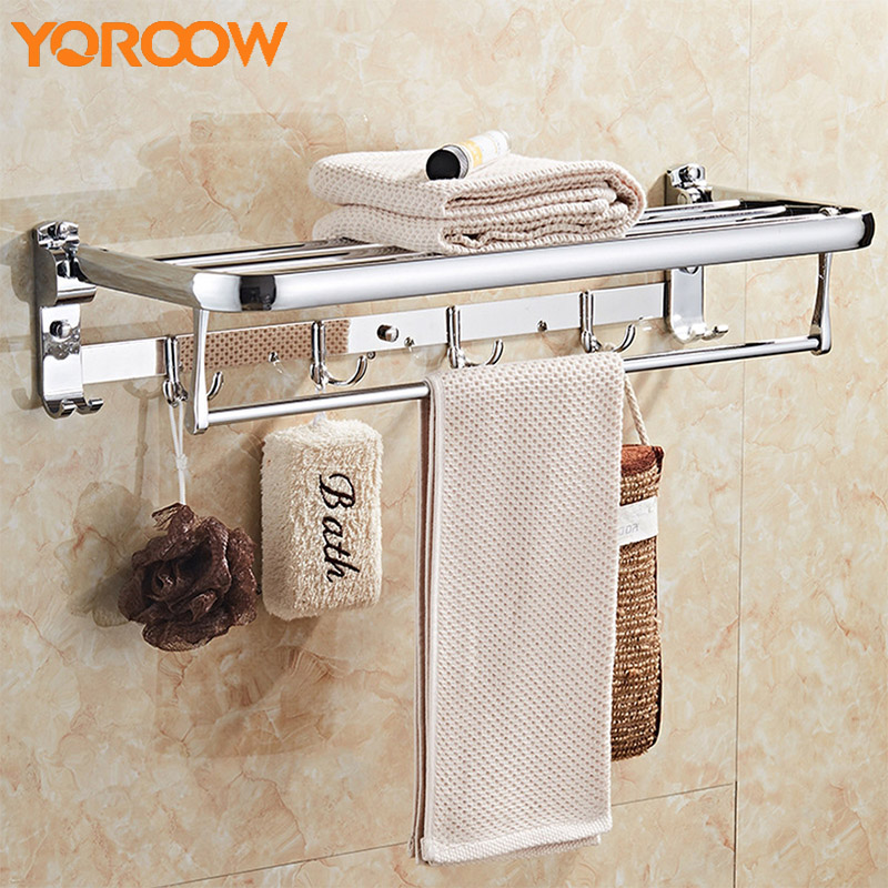 Stainless Steel Towel Rack Bath Bathroom Hardware SUS 304 Shower Shelves For Wall Mounted Storage Hanging Shelf SG0014 viborg deluxe sus304 stainless steel foldable wall mounted bathroom towel rack shelf towel holder storage