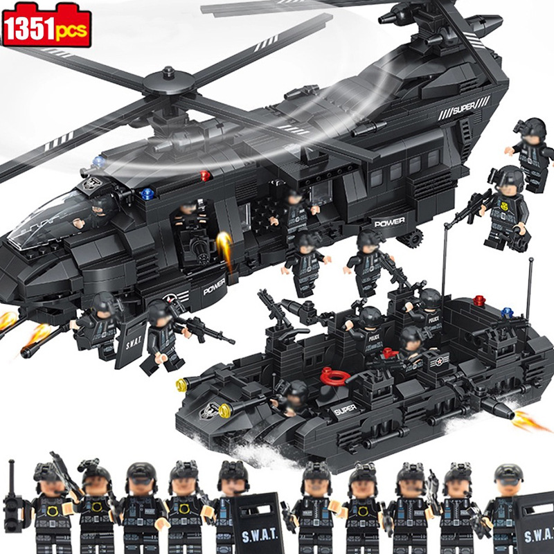 1351pcs Special police team Children s educational building blocks toy Compatible city War series helicopter Bricks