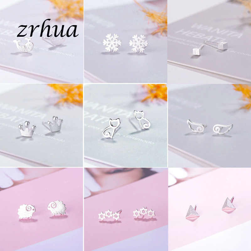 ZRHUA Female Heart Stud Earring 100% 925 Sterling Silver Earrings For Women Gift Sterling-silver-jewelry Pendientes Mujer