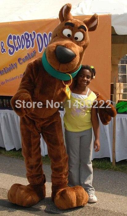 Brun Snoopyy chien Scooby Doo mascotte Costume mascotte avec noir grand nez personnage de dessin animé adulte fantaisie robe livraison gratuite