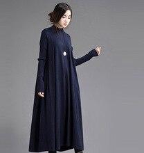 XITAO 2016 Original design art style elegant auutmn winter knitted loose long sleeved turtleneck women