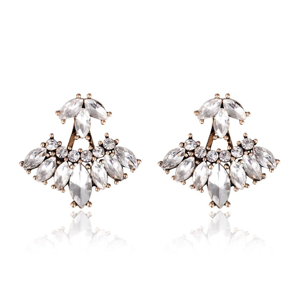 New Gothic Crystal Leaf Stud Earrings For Women White Crystal Boucle  D'oreille Femme Bijoux Front Back Ear Jacket Jewelry 2017