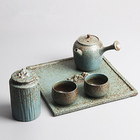 Taiwan Japanese Kiln Kung Fu Tea Side Side Pot Kanshou Tea Tray Gift Set Ceramic Ru Kiln Tea Tank