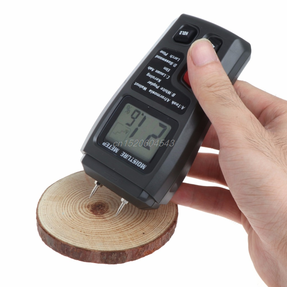 Digital Wood Moisture Meter Analyzer Humidity Tester Timber Damp Detector Hygrometer 2 Pin Tester Tools R06 Drop Ship high precision digital electric moisture meter wood timber plank humidity moisture content tester gauge with 11mm probe vc2ga