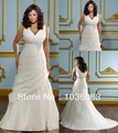 Famous Designer Sexy V neckline Appliques Ivory Plus Size Wedding Dresses Bridal Gowns Cheap Online Selling 2015