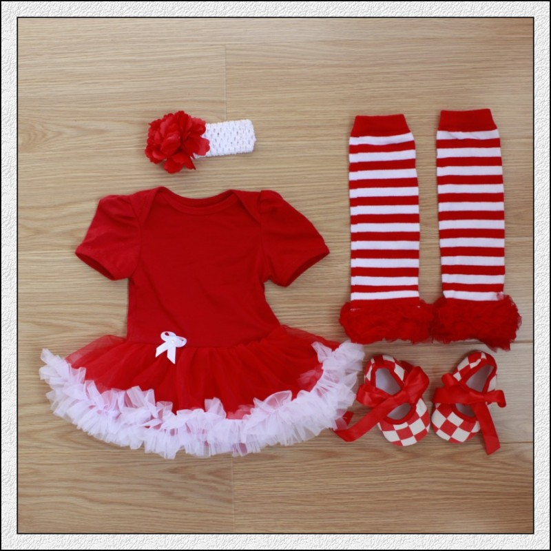 4PC per set Infant Lace Romper Solid Röd Baby Girls Tutu Klänning - Babykläder
