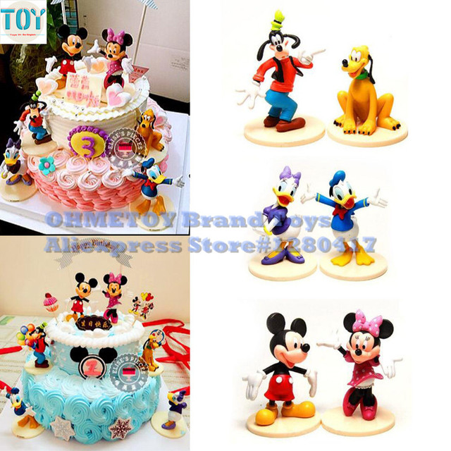 New 6pcs Mickey Mouse Clubhouse Minnie Goofy Figures Playsets Toys Cake Topper Mini Action Anime