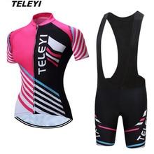 TELEYI розовый Pro Велоспорт Джерси комплект Женская велосипедная Одежда для девочек Ropa Ciclismo MTB велосипедный Джерси Топ нагрудник Мягкие Шорты