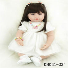 22 inch 55 cm  baby reborn Silicone dolls, lifelike doll reborn babies toys Beautiful fashion white gauze dress doll