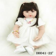 22 inch 55 cm  baby reborn Silicone dolls, lifelike doll reborn babies toys Beautiful fashion white gauze dress doll