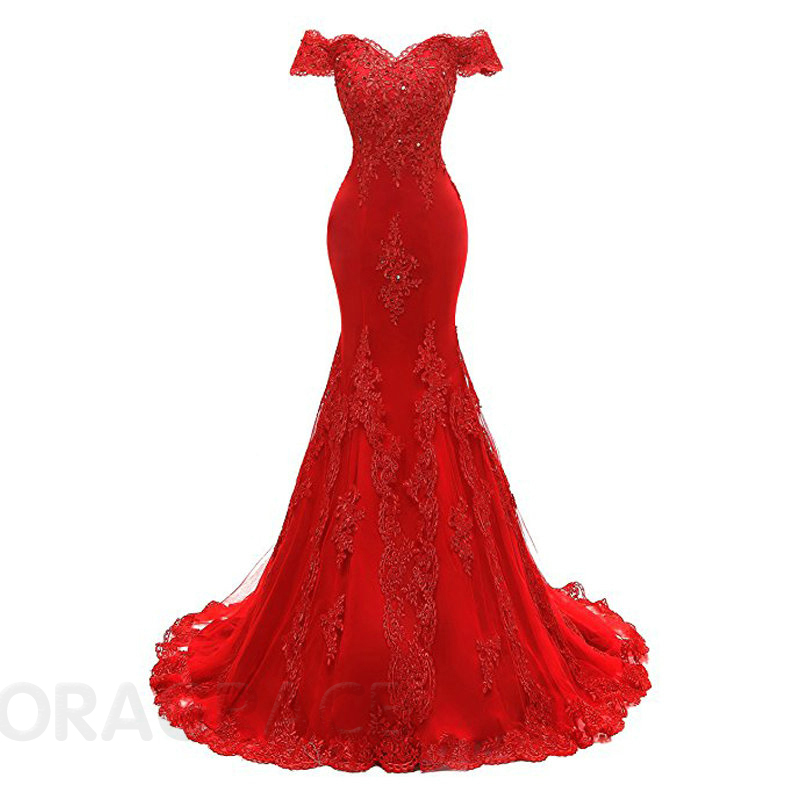 Doragrace Elegant Applique Beaded Off the Shoulder Red Mermaid Evening Dresses in Evening Dresses from Weddings Events