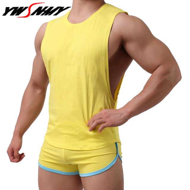 6f9faa19d0 Hot sale Mens Sexy Cotton Casual Tank Top Men Sleeveless Tops Bodybuilding  Undershirts Gay mens Low Cut Fashion Loose vests Sets