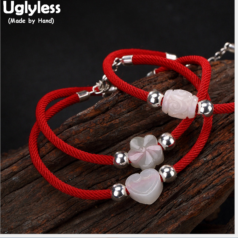 Uglyless S 925 Sterling Silver Bracelets Women GOOD LUCK Red Rope Bracelet Natural White Jade Heart Flower Beads Charms Jewelry