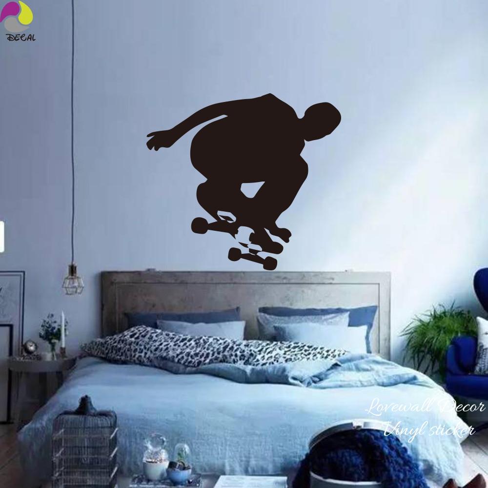 Skateboard stiker dinding kamar tidur anak ruang skater skating olahraga dinding decal ruang tamu cut vinyl home decor mudah wall art mural di wall stickers
