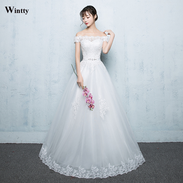 Wintty Vestido De Noiva Vintage 2017 Lace Princess Wedding Dresses A ...