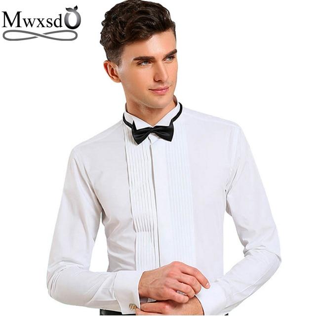 Mwxsd 2019 men tuxedo wedding shirt slim fit long sleeved solid French shirt folds swallow collar shirt chemise homme