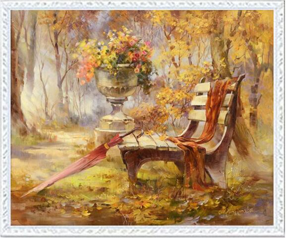 Needlework DIY DMC 14CT Unprinted Cross Stitch Kits For Embroidery Autumn At The Park Counted Cross-Stitching Embroidered Crafts