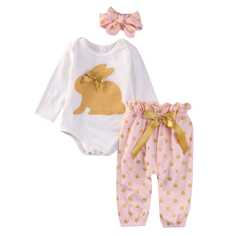 Newborn Infant Baby Girls Clothes Cute Rabbit Romper Polka Dot Pants Headband Long Sleeve Outfit Sets