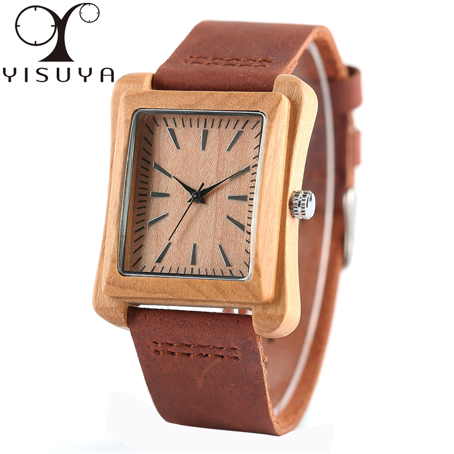 YISUYA Mens Watches Rectangle Nature Wood Fashion Wristwatch Genuine Leather Strap Creative Gift