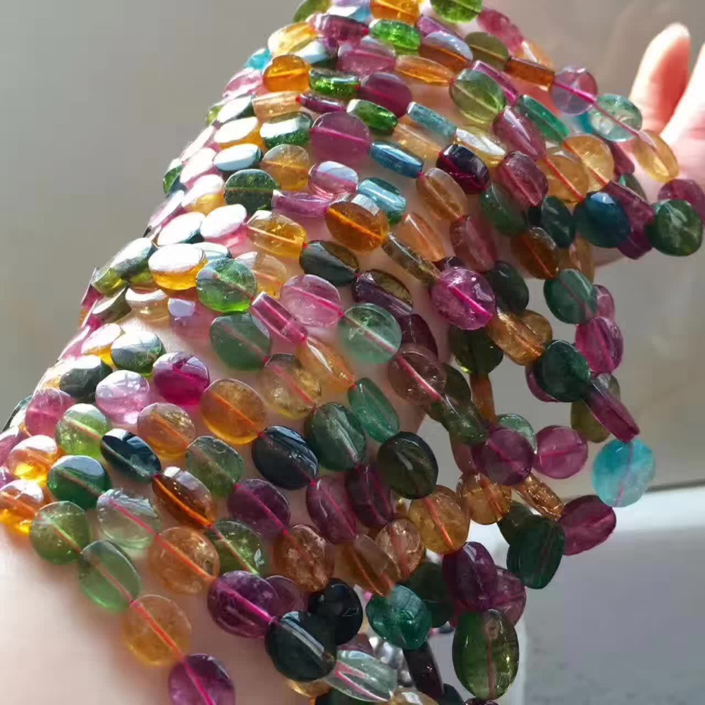 Véritable naturel coloré Tourmaline cristal clair ovale perles une femmes homme collier 6-13mm AAA