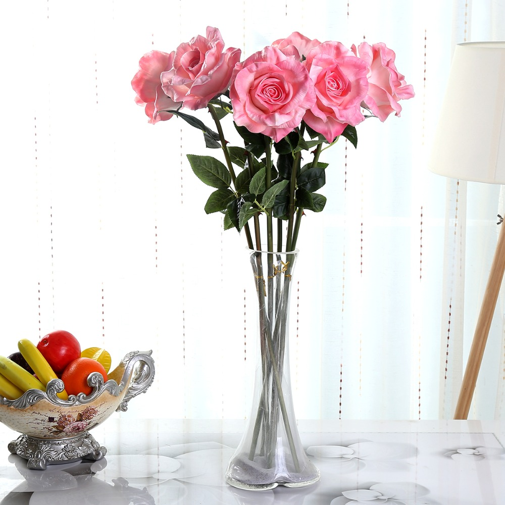 Home bulk roses peach roses - Bulk Artificial Rose Flower Wholesale 29 Pu Italy Rose Wedding Decoration Real Touch Latex