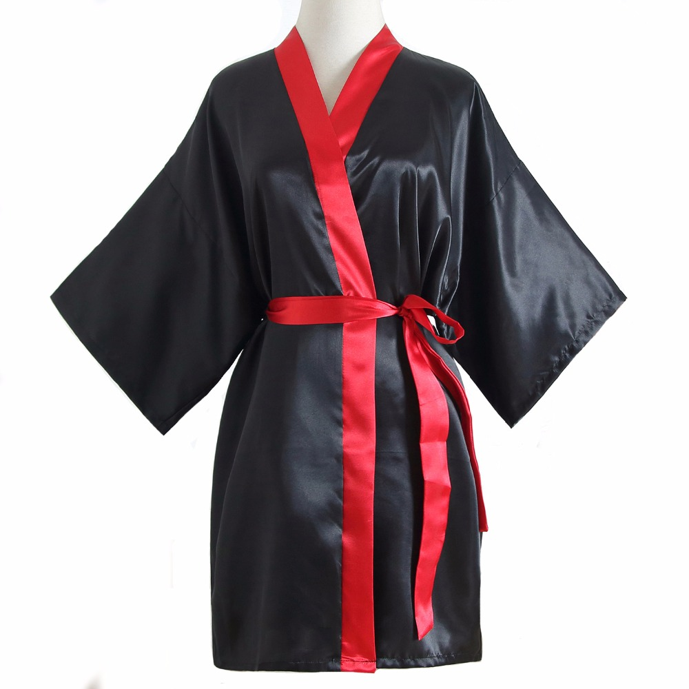 Sexy Black Women Rayon Robe Gown Patchwork Summer Casual Loose Nightgown Bat Sleeve Sleepwear Kimono Bathrobe Plus Size SG71 ...