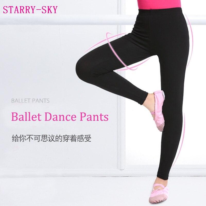 2017 New Children Ballet Ankle-length Leggings High Elastic Fitness Dance Pants Breathable Girl Black Cotton Gymnastics Trousers
