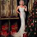 Robe De Soirée Vestido de Festa À Noite Fotos Reais Cor Nude Tulle de Cristal Azul Royal Partido Ocasião Formal Vestido de Noite Longo