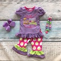Easter design little miss baby girls kids boutique clothes ruffles cotton chick polka dot with matching headband and necklace