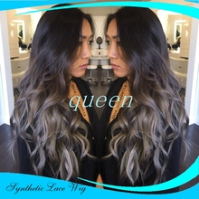 Ombre wigs Silver Grey straight Synthetic Lace Front Wig Glueless Long Black/Gray Heat Resistant Wigs For Black Women