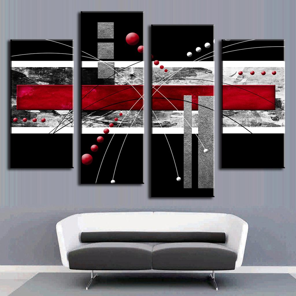 4 Pcs/set Abstract Wall Art Painting Modern Black Background Colorful Red Graphics Lines Canvas Printed Pictures For Home Decor-in Painting u0026 Calligraphy ...  sc 1 st  AliExpress.com & 4 Pcs/set Abstract Wall Art Painting Modern Black Background ...