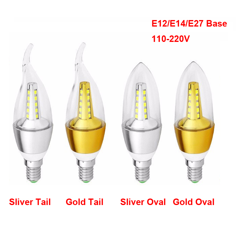 LED Candle Bulb E12 E14 E27 Base Available 5W AC85-265V 2825SMD LED Light Bulb For Chandelier Pendent Wall Light Warm Light Cool