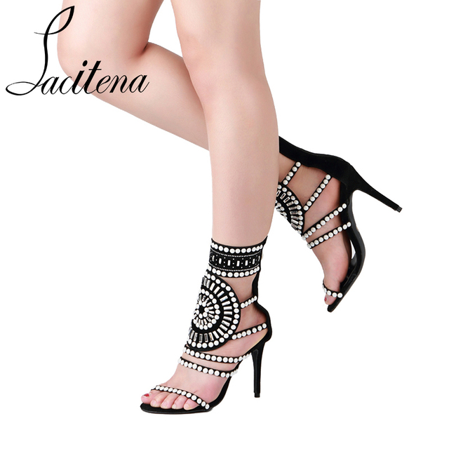 Pearl Rome Sandals Hollow Zipper Sandals Crystal Pearl Sandals-in ...