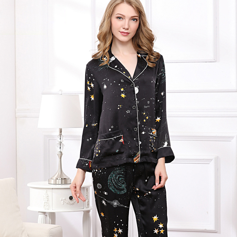 Elegance starry sky 100% natural silk   pajamas     sets   women Fashion black long sleeve nightwear genuine silk noble pyjamas women