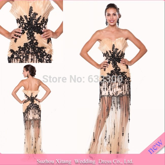Vestido De Fiesta Champagne A-line Sweetheart Pleat Applique Backless Floor length evening dresses Gown - Cloudup store