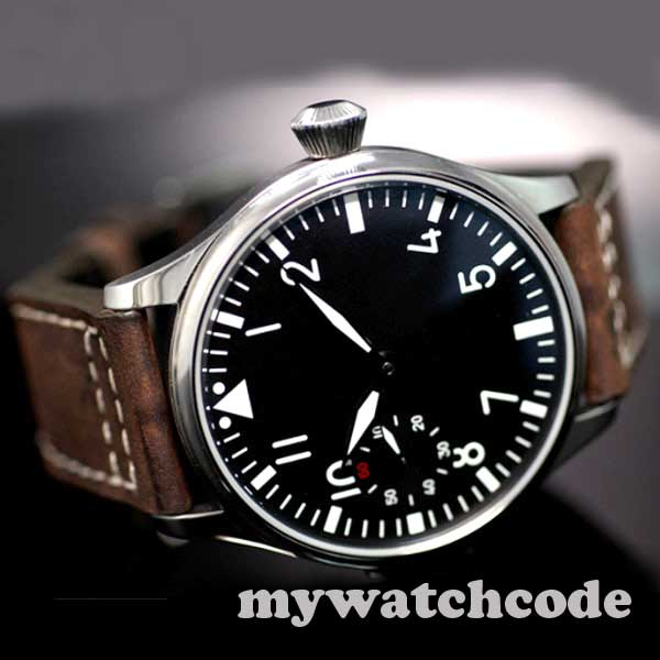 Livraison Gratuite 44mm classique cadran noir parnis lumineux makrs asie 6497 mouvement montres mécaniques à remontage manuel montre pour hommes PA01
